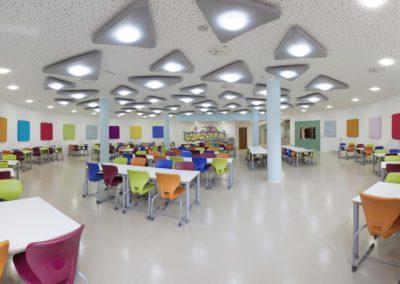 Prostorová akustika v jídelně anglické školy