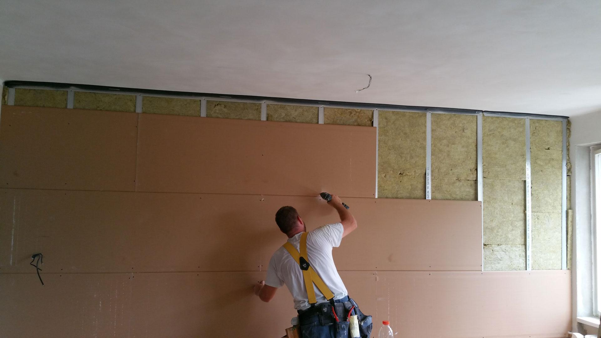 Knauf Silentboard montáž odhlučnění stěny knauf silent board noitami akustika